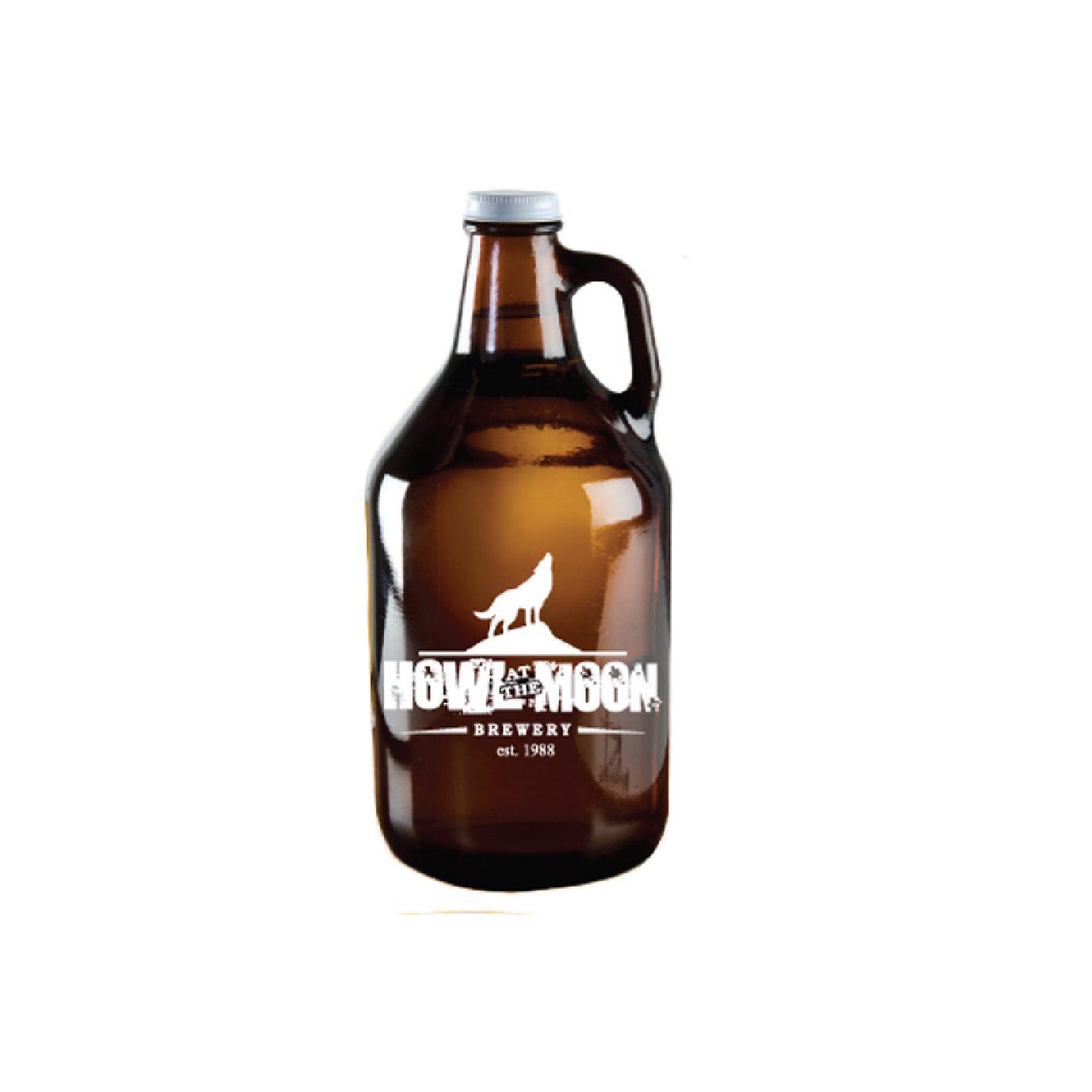custom reusable brown glass growler