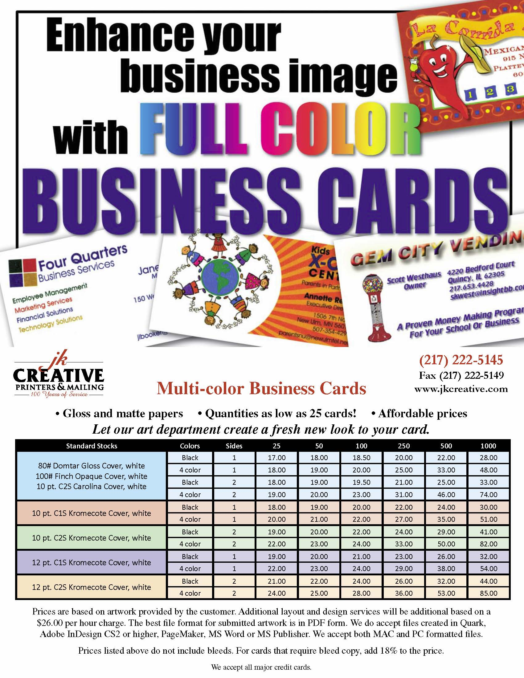 business cards jk creative printers mailing quincy illinois