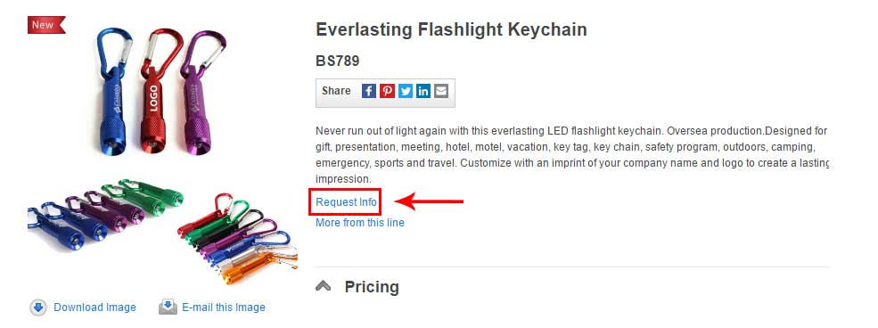Find Request Info Link by navigating to the details page for any product in our listing.