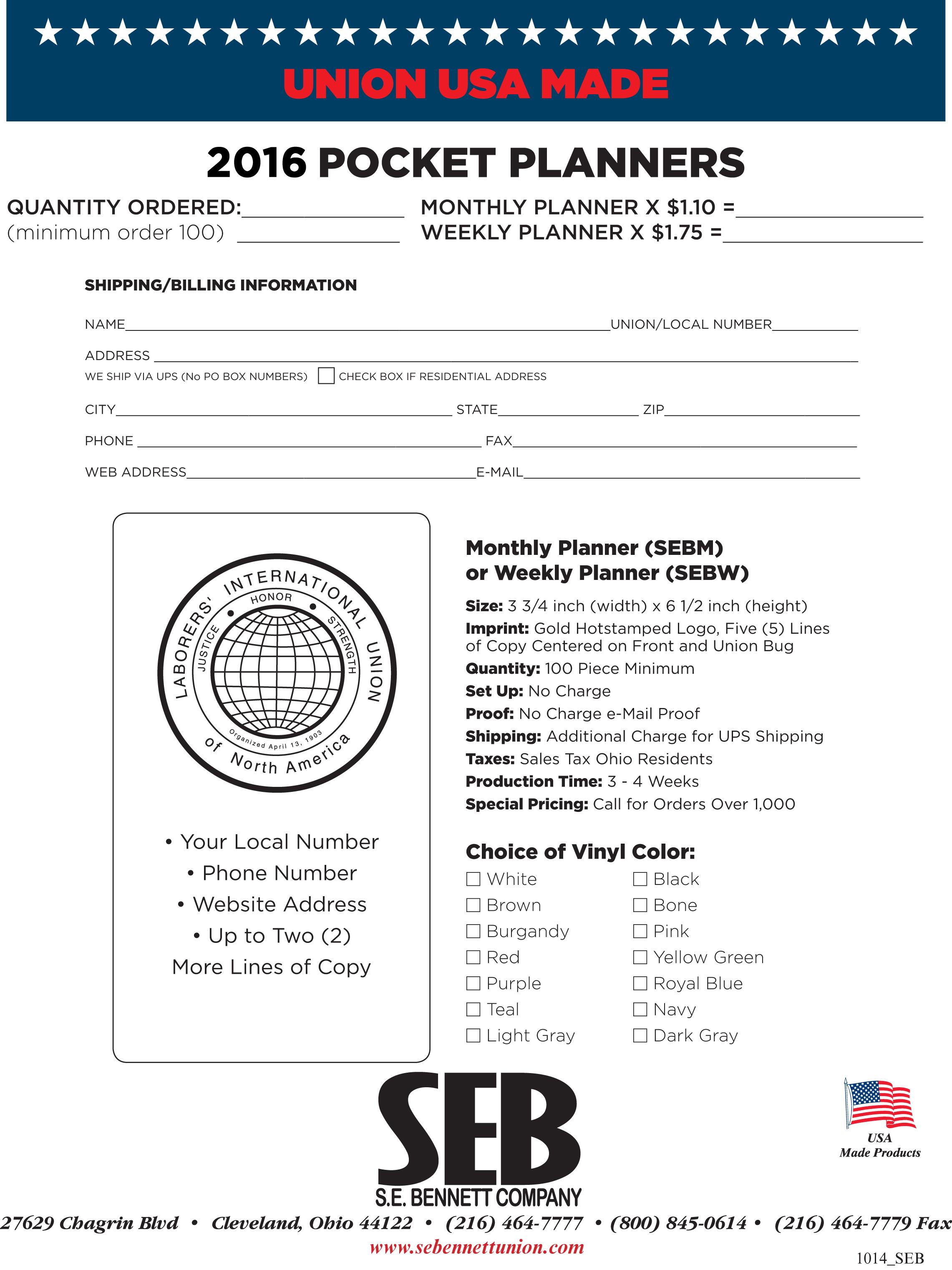 Laborers International Union Pocket Planner