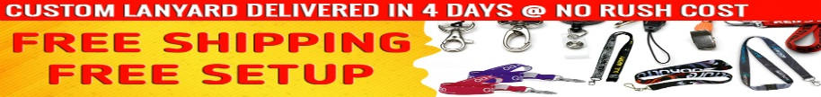 Colorful lanyards with free shipping and free setup. Delivered in four days with no rush cost.