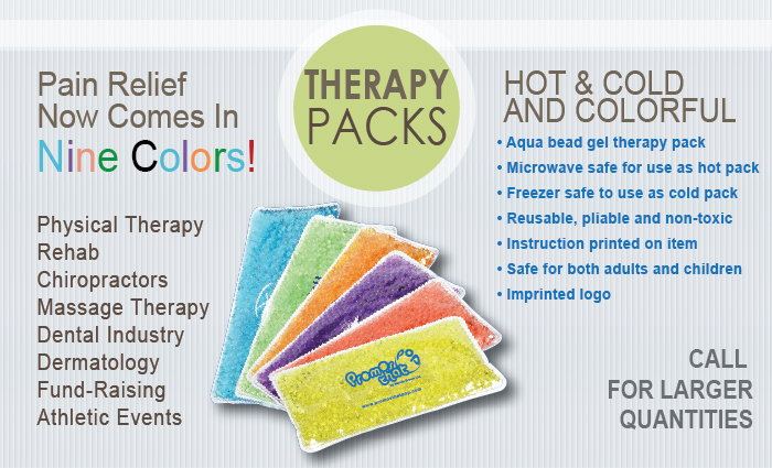 Hot/Cold Therapy Packs with printed Logo, Relief now comes in 9 colors!